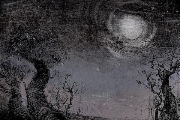Piirretty maisema puista ja kuusta / Drawing of a scenery with trees and a moon