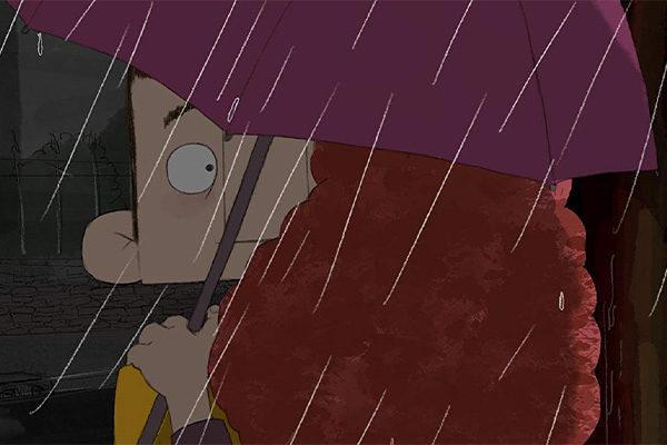 Animoitu mies ja nainen sateenvarjon alla / Animated man and woman under an umbrella