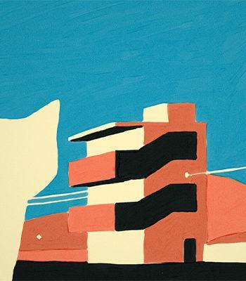 Animaatio kuva kissasta ja rakennuksesta / An animated picture of a cat and a building