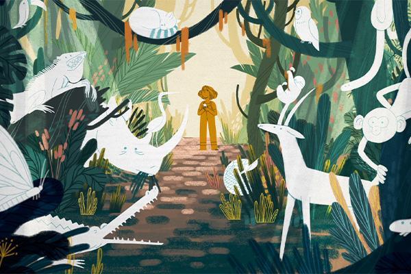 Viidakko ja eläimiä
