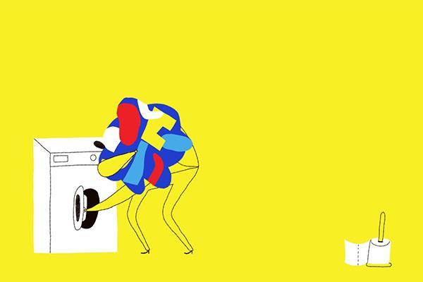 Pesukonetta täytetään ja vessaharja