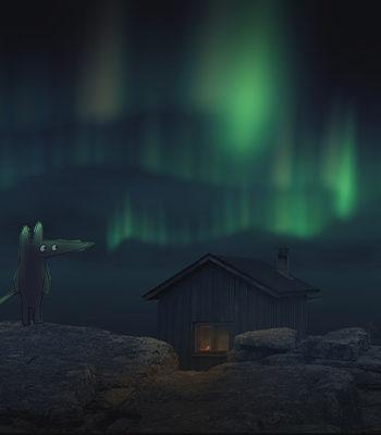 Animoidut kettu ja revontulet / Animated fox and northern lights